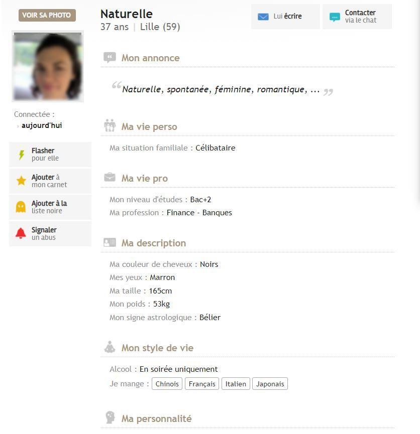 profil de femme celibnord